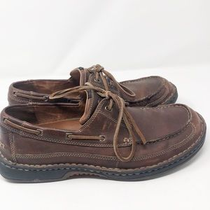 Clarks Brown Leather Casual Boat Loafer Shoes
